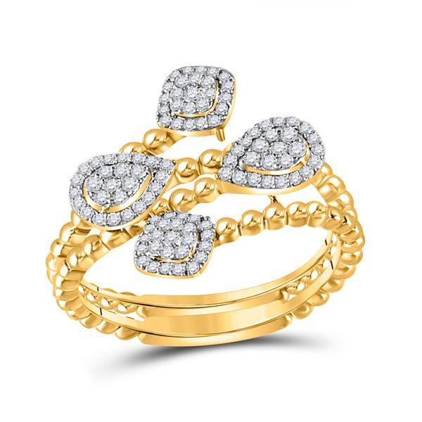 Round Diamond Teardrop Spiral Fashion Ring 1/3 Cttw 10KT Yellow Gold