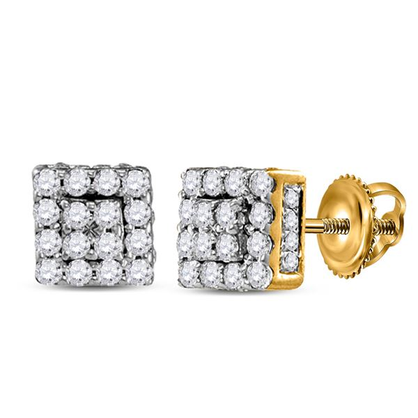 Round Diamond Square Earrings 1/3 Cttw 10KT Yellow Gold