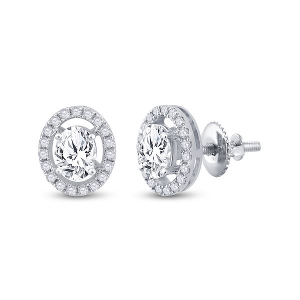 Oval Diamond Solitaire Stud Earrings 1-1/4 Cttw 14KT White Gold