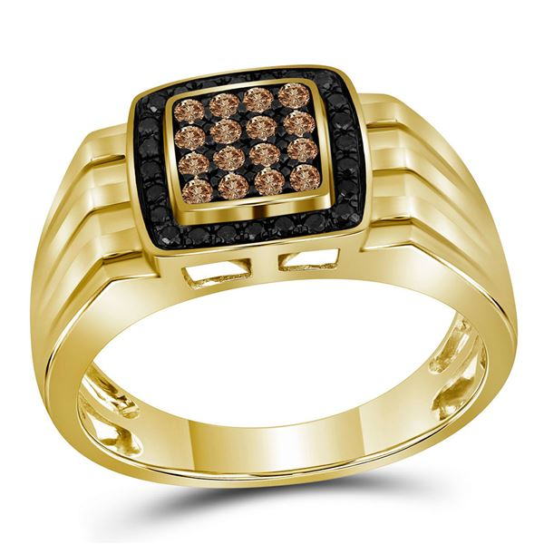 Round Brown Diamond Square Ring 1/2 Cttw 10KT Yellow Gold