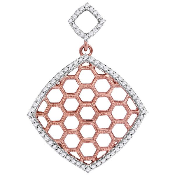 Round Diamond Honeycomb Offset Square Pendant 1/5 Cttw 10KT Two-tone Gold