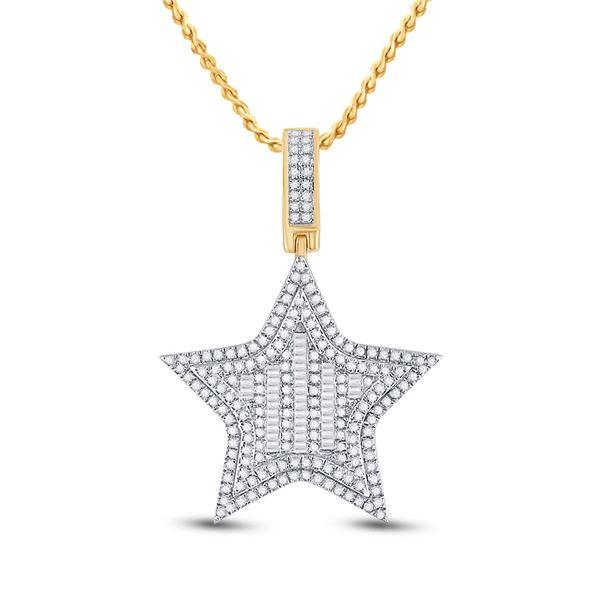 Round Diamond Star Charm Pendant 3/4 Cttw 14KT Yellow Gold