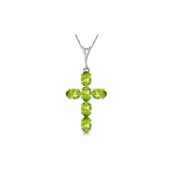 Genuine 1.50 ctw Peridot Necklace 14KT White Gold - REF-32A8K