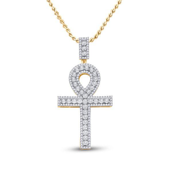Round Diamond Ankh Cross Charm Pendant 1 Cttw 10KT Yellow Gold
