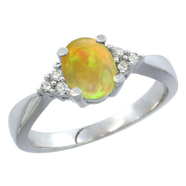 0.62 CTW Ethiopian Opal & Diamond Ring 10K White Gold - REF-29F2N