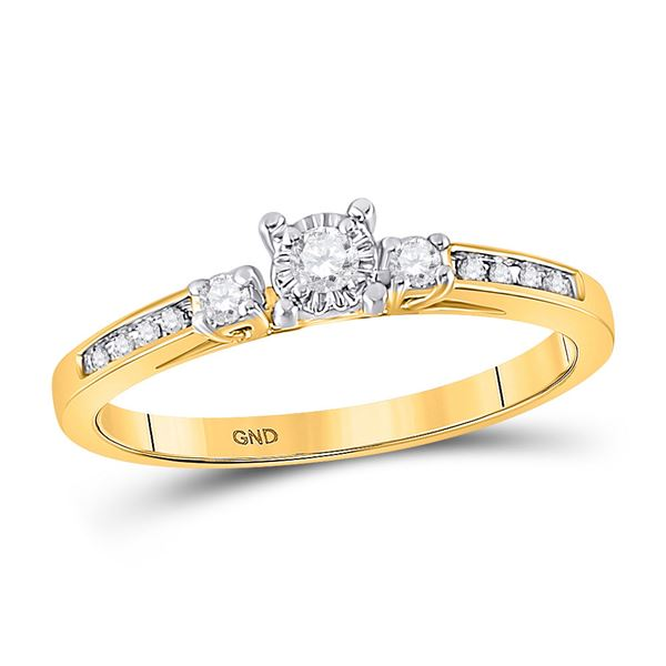 Round Diamond 3-stone Promise Ring 1/6 Cttw 10KT Yellow Gold
