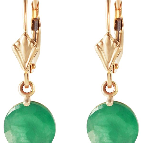 Genuine 3.3 ctw Emerald Earrings 14KT Yellow Gold - REF-50H6X
