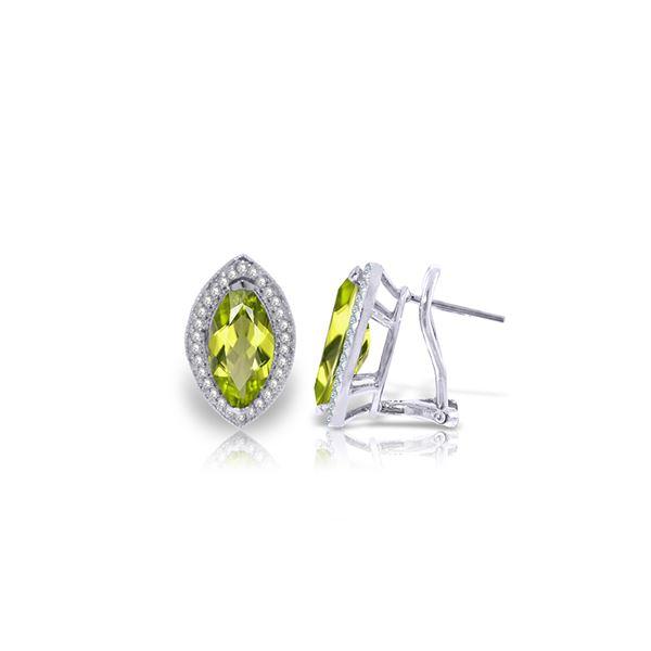 Genuine 4.3 ctw Peridot & Diamond Earrings 14KT White Gold - REF-102P8H