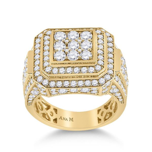Round Diamond Square Ring 4 Cttw 14KT Yellow Gold