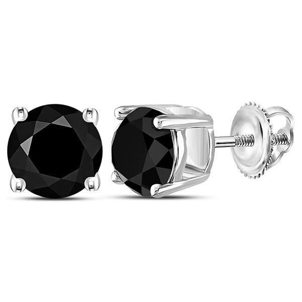 Black Color Enhanced Diamond Solitaire Stud Earrings 4 Cttw 10KT White Gold