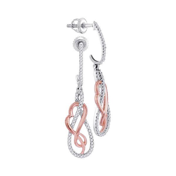Round Diamond Rose-tone Heart Teardrop Dangle Earrings 1/3 Cttw 10KT Two-tone Gold