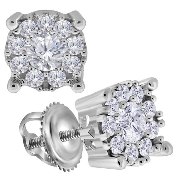Round Diamond Halo Earrings 3/4 Cttw 14KT White Gold