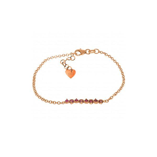 Genuine 1.55 ctw Ruby Bracelet 14KT Rose Gold - REF-62W7Y