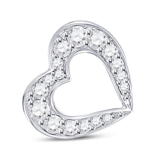 Round Diamond Outline Heart Pendant 1/6 Cttw 10KT White Gold