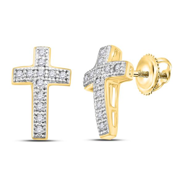Round Diamond Cross Earrings 1/10 Cttw 10KT Yellow Gold