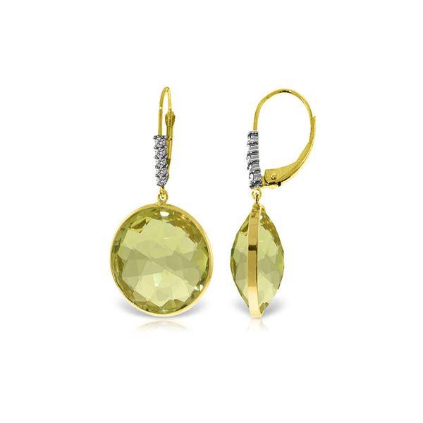 Genuine 34.15 ctw Lemon Quartz & Diamond Earrings 14KT Yellow Gold - REF-73W3Y