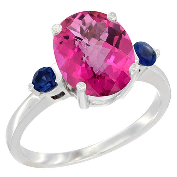 2.64 CTW Pink Topaz & Blue Sapphire Ring 14K White Gold - REF-32V3R
