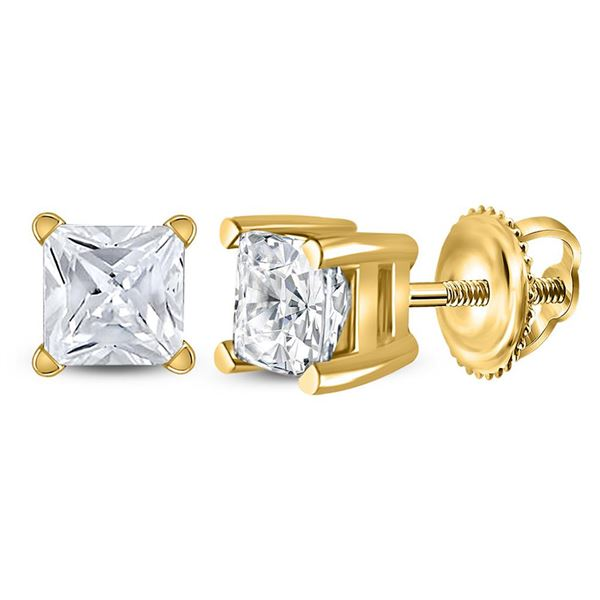 Princess Diamond Solitaire Stud Earrings 3/4 Cttw 14KT Yellow Gold