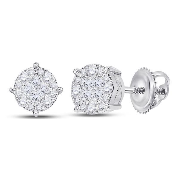 Princess Diamond Fashion Cluster Earrings 1-1/2 Cttw 14KT White Gold