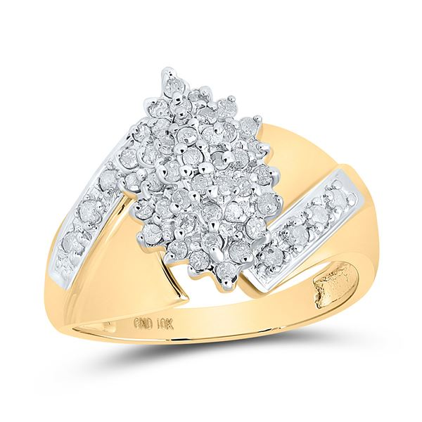 Round Diamond Cluster Ring 1/2 Cttw 10KT Yellow Gold