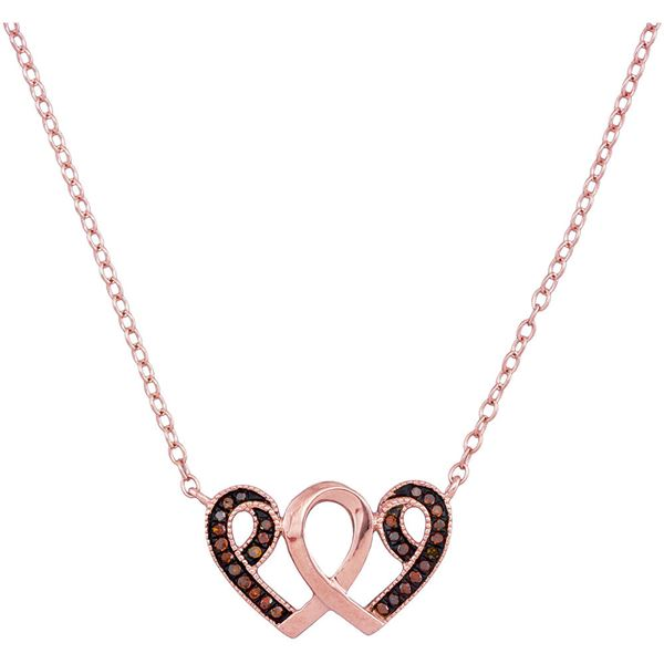 Round Red Color Enhanced Diamond Heart Necklace 1/10 Cttw 10KT Rose Gold