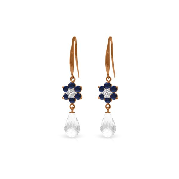 Genuine 5.51 ctw Sapphire, White Topaz & Diamond Earrings 14KT Rose Gold - REF-49Z8N