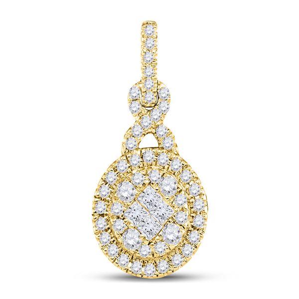 Princess Diamond Fashion Cluster Pendant 1/2 Cttw 14KT Yellow Gold