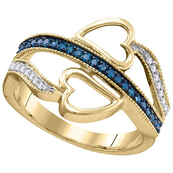 Round Blue Color Enhanced Diamond Double Heart Ring 1/5 Cttw 10KT Yellow Gold