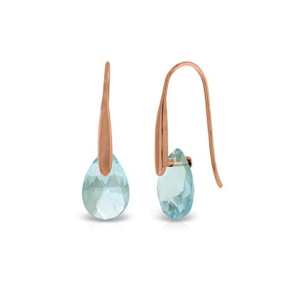 Genuine 6 ctw Blue Topaz Earrings 14KT Rose Gold - REF-38X5M