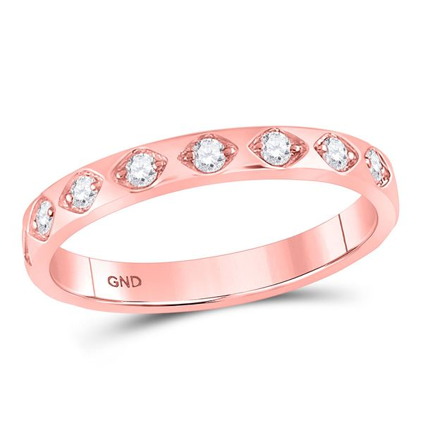 Round Diamond Flush Diamond Shape Stackable Band Ring 1/5 Cttw 10KT Rose Gold