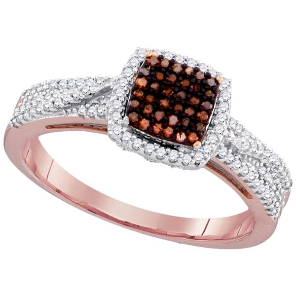 Round Red Color Enhanced Diamond Square Cluster Ring 1/3 Cttw 10KT Rose Gold