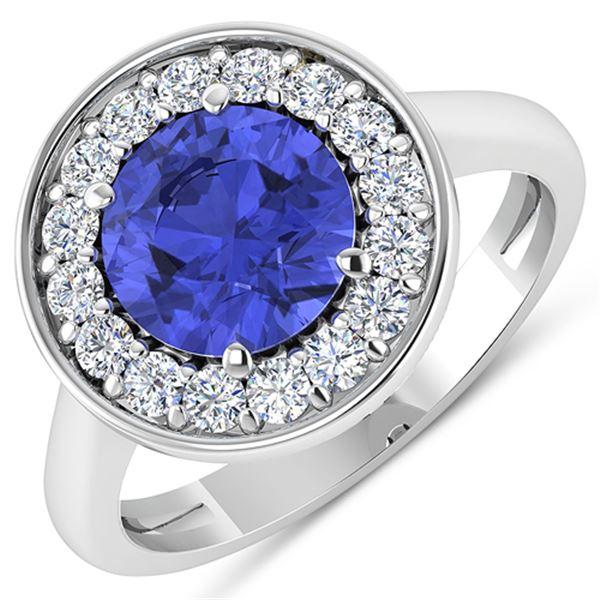 Natural 2.58 CTW Tanzanite & Diamond Ring 14K White Gold - REF-101K7W
