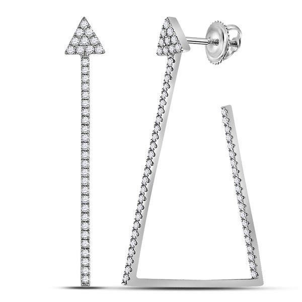 Round Diamond Triangular Hoop Earrings 3/4 Cttw 14KT White Gold
