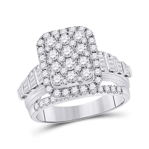 Round Diamond Rectangle Cluster Ring 1-3/4 Cttw 14KT White Gold
