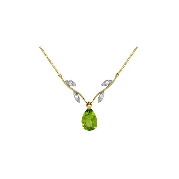 Genuine 1.52 ctw Peridot & Diamond Necklace 14KT Yellow Gold - REF-30V7W