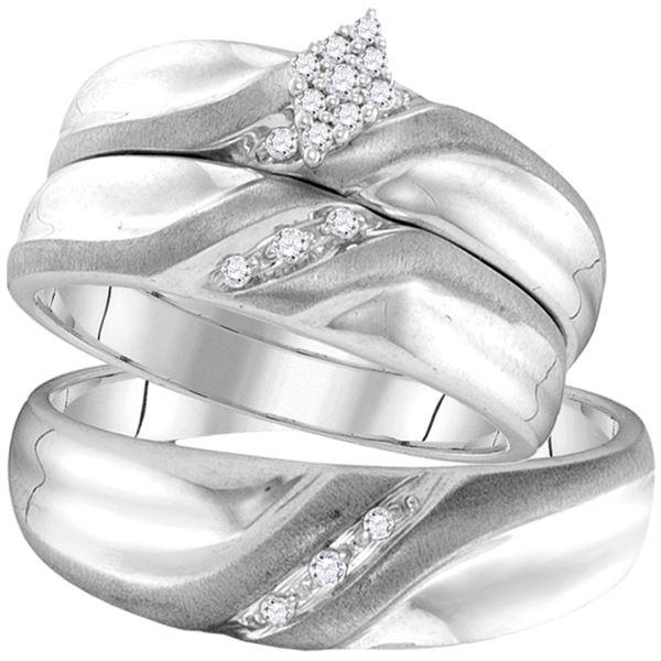 Diamond Cluster Matching Wedding Set 1/8 Cttw 10KT White Gold