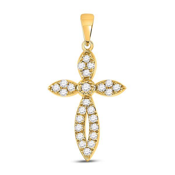 Round Diamond Cross Pendant 1/6 Cttw 10KT Yellow Gold