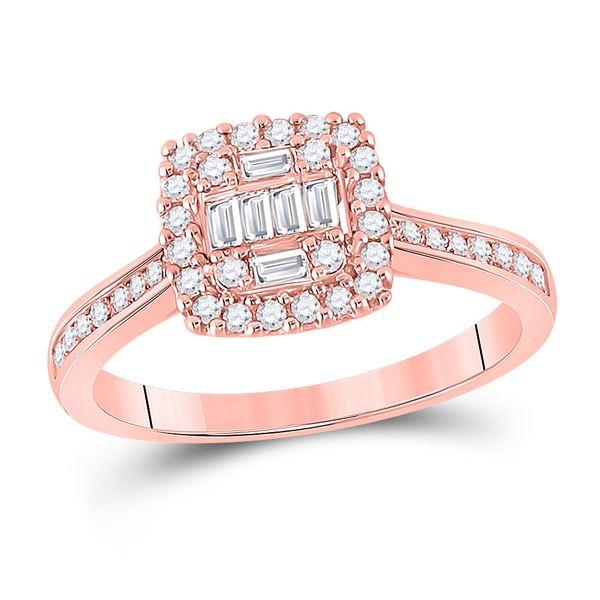 Halo Cluster Bridal Wedding Engagement Ring 1/2 Cttw 14KT Rose Gold