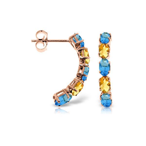 Genuine 2.5 ctw Blue Topaz & Citrine Earrings 14KT Rose Gold - REF-37A4K
