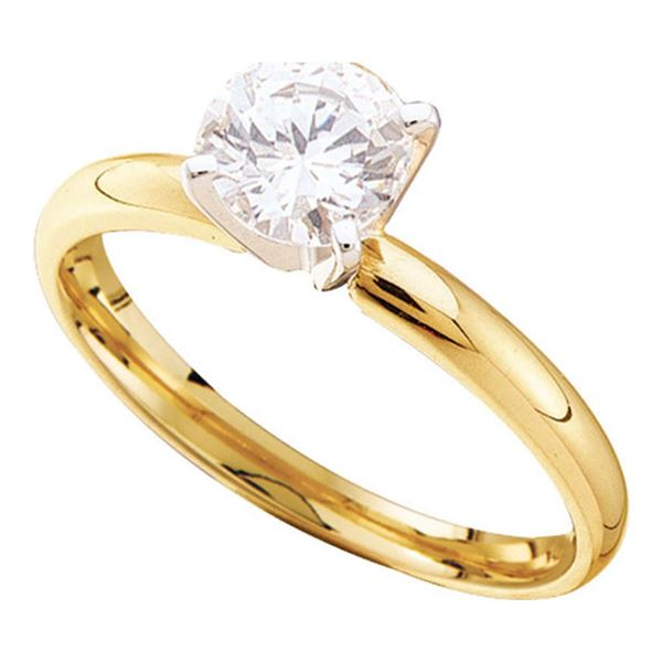 Round Diamond Solitaire Bridal Wedding Engagement Ring 1/4 Cttw 14KT Yellow Gold