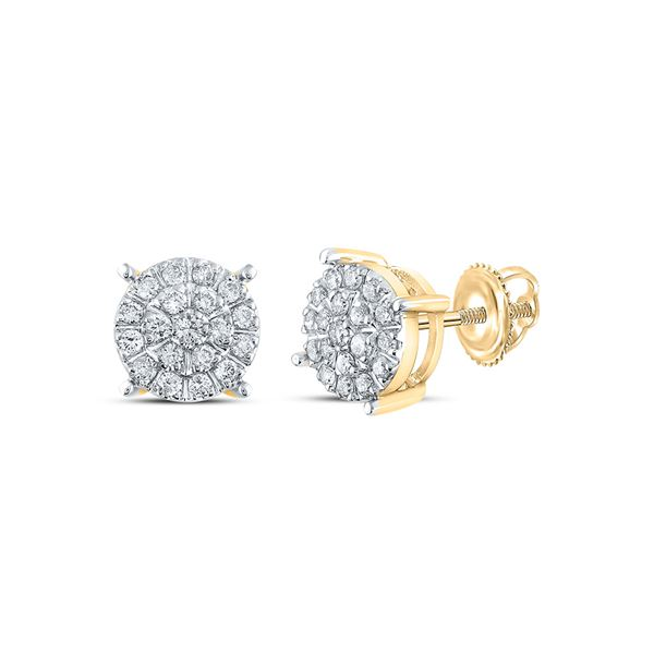 Round Diamond Cluster Earrings 3/8 Cttw 10KT Yellow Gold
