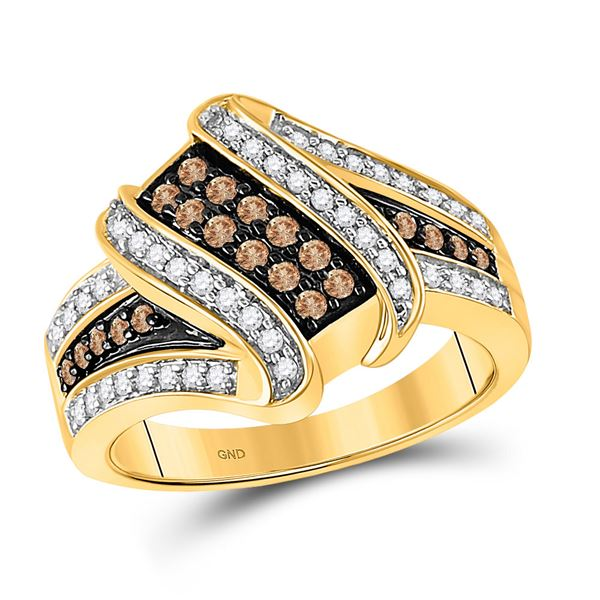 Round Brown Diamond Crossover Ring 1/2 Cttw 10KT Yellow Gold