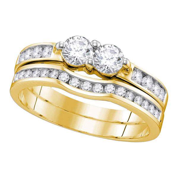 Diamond 2-stone Bridal Wedding Ring Band Set 1/2 Cttw 10KT Yellow Gold
