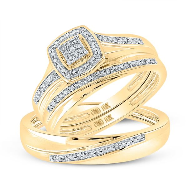 Diamond Square Matching Wedding Set 1/12 Cttw 10KT Yellow Gold