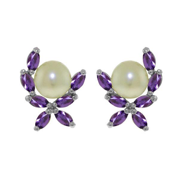 Genuine 3.25 ctw Pearl & Amethyst Earrings 14KT White Gold - REF-30V2W