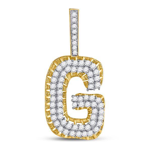 "Round Diamond ""G"" Charm Pendant 1-3/8 Cttw 10KT Yellow Gold"