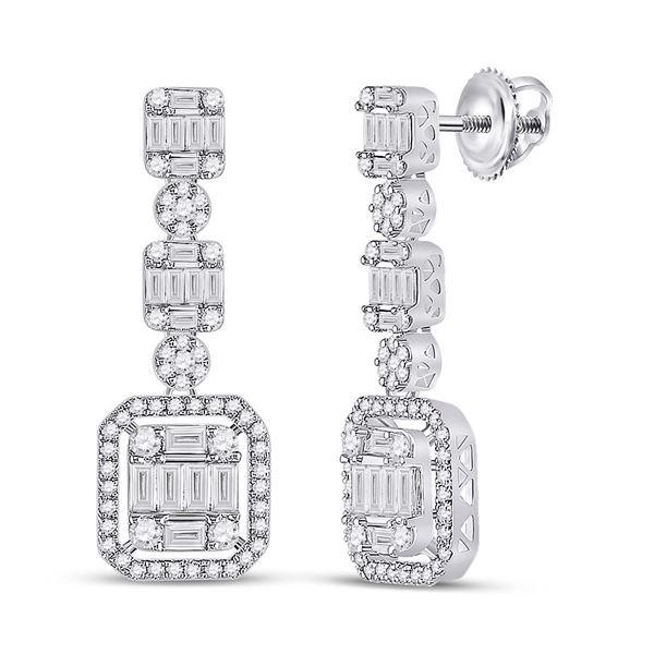 Baguette Diamond Dangle Earrings 1-1/2 Cttw 14KT White Gold