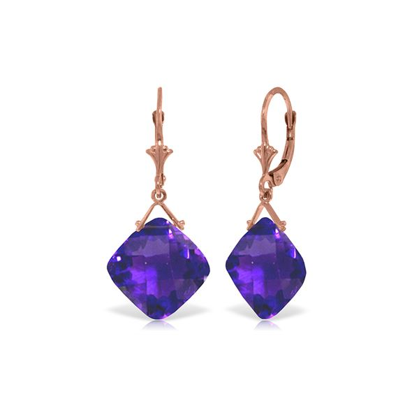 Genuine 17.5 ctw Amethyst Earrings 14KT Rose Gold - REF-39R3P
