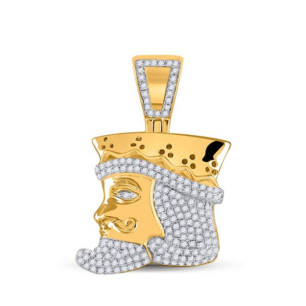 Round Diamond King Playing Card Charm Pendant 1/2 Cttw 10KT Yellow Gold