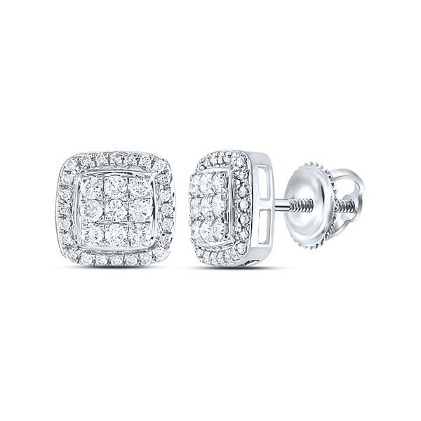 Round Diamond Square Cluster Earrings 1/2 Cttw 10KT White Gold
